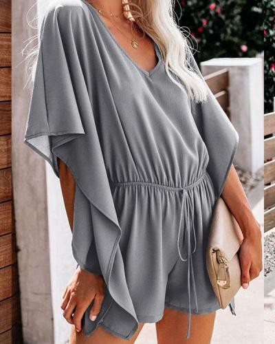 Women's Chiffon V Neck Batwing Sleeve Highwaist Romper