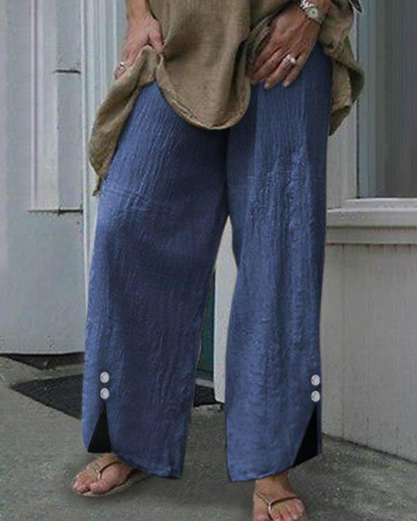 Women Plus Size Elastic Waist Button Decor Linen Cotton Pants