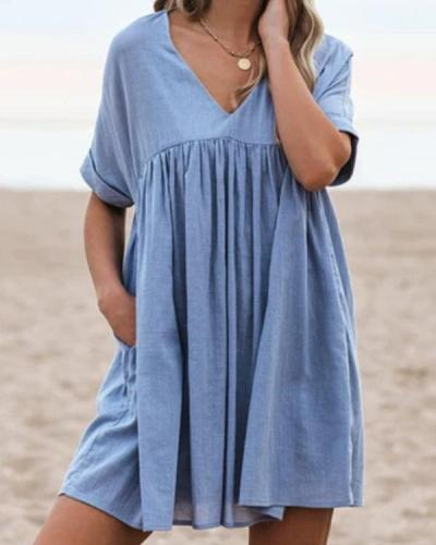 Casual Ruffled Short Sleeve V Neck Dresses