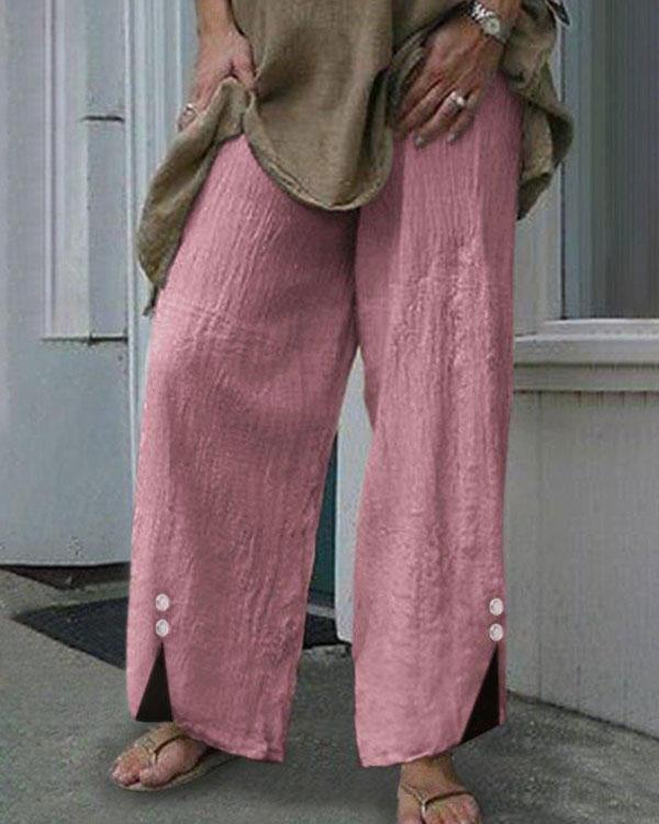 Women Plus Size Elastic Waist Button Decor Linen Cotton Pants