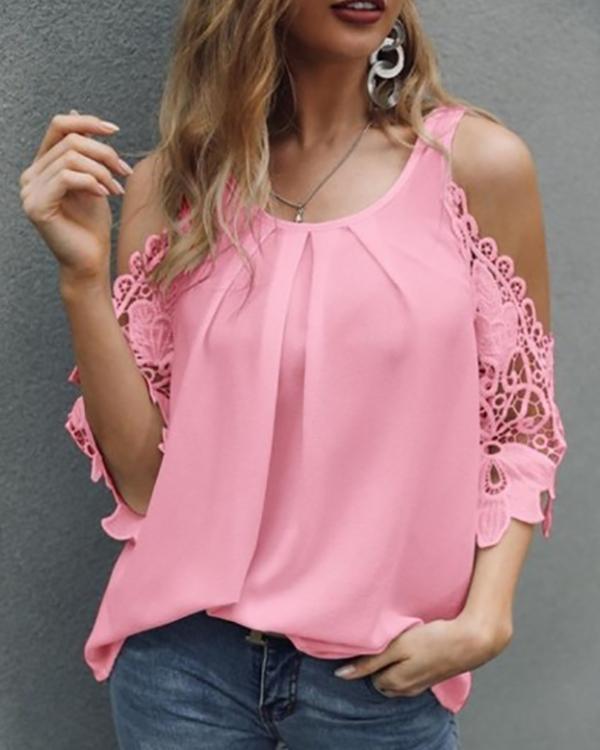 Women Off Shoulder Solid Color Shirt Blouse