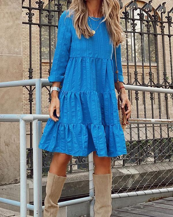 Women's Loose-fit Long-sleeved Linen Dress