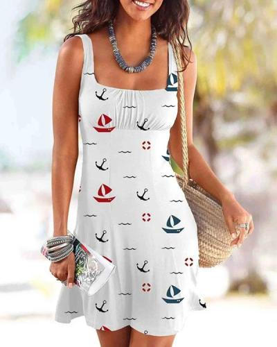 Anchor Boat Print Beach Dress