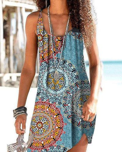 Print Sleeveless Casual Vacation Dresses