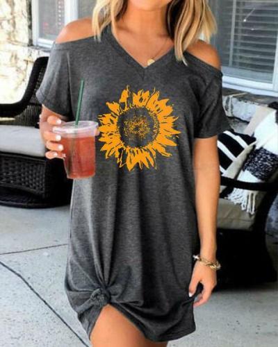 Casual Sunflower Print Cold Shoulder Mini Dress