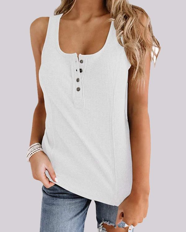 Solid Color Button Sleeveless Vest