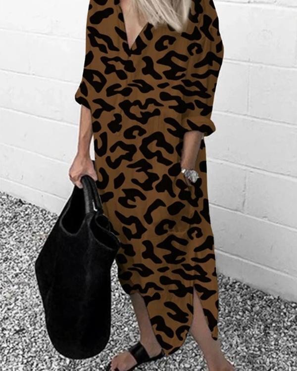 Women's Leopard Printed Long-Sleeved Dress Long Dress