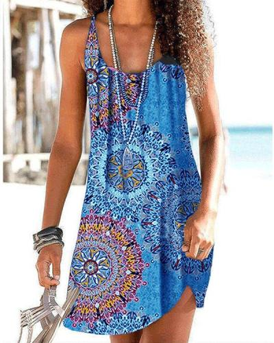 Print Sleeveless Casual Vacation Dresses
