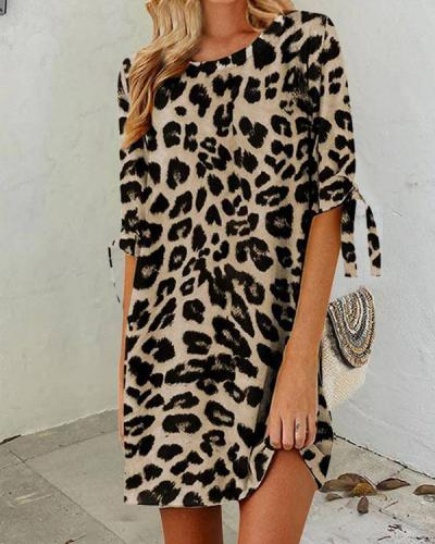 Women's Fashion Leopard Half Sleeve Mini Dress