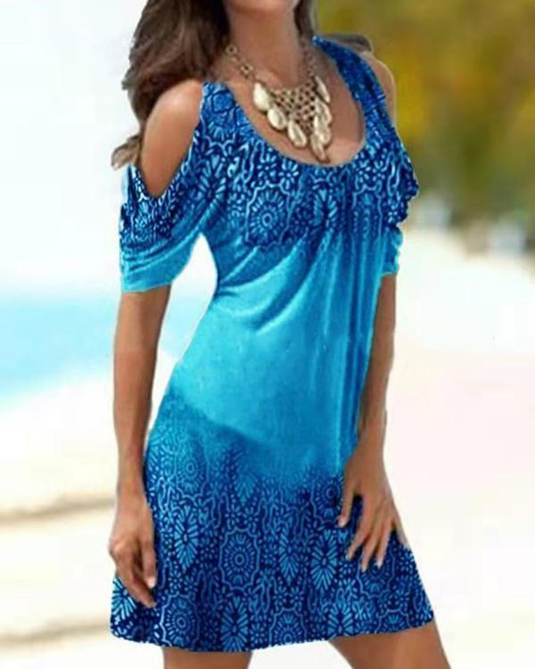Off Shoulder Print Casual Dress