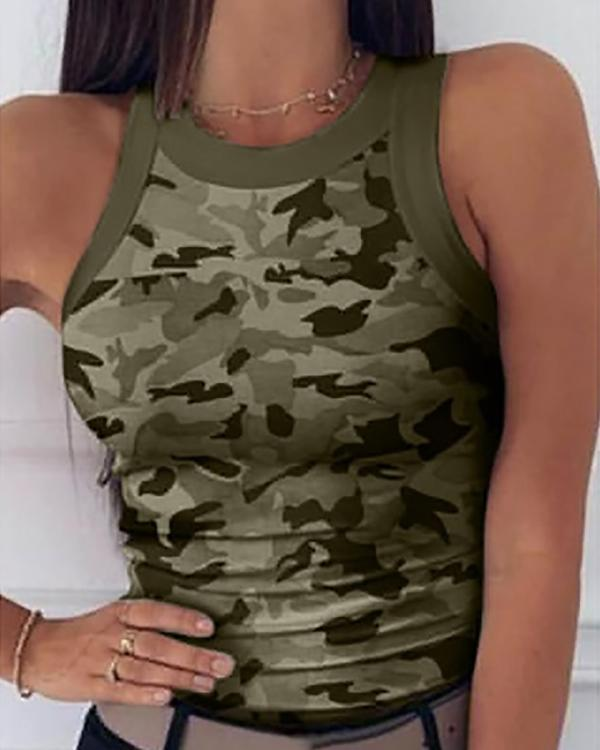 Chic Girls Camouflage Printed Sleeveless Round Neck Slim Fit Tank Top