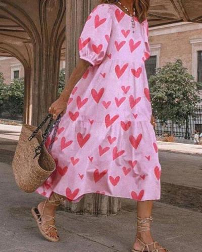 Heart Printed Summer O Neck Sundress Women Puff Sleeve Dresses
