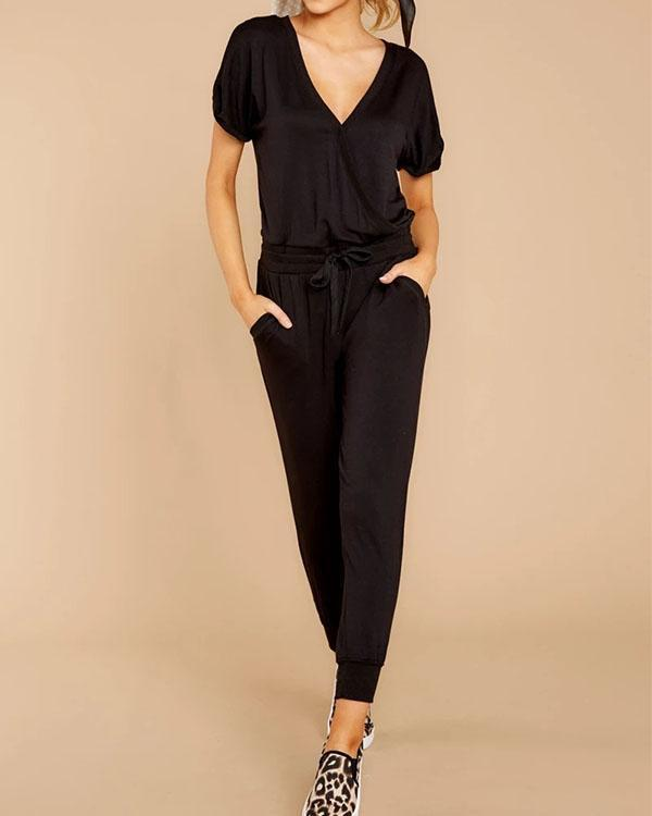 Women Fashion Plain Color Short Sleeve Jumpsuit