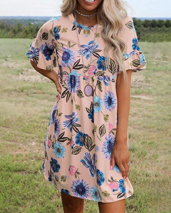 Casual Highwaist Floral A-line Dress Without Necklace