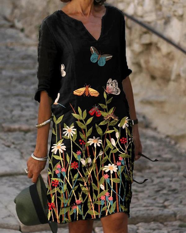 Women's Shift Dress Knee Length Dress Half Sleeve Floral Animal Clothing
