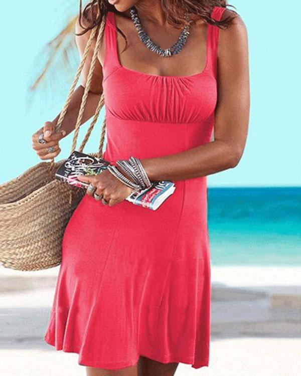 Solid Sexy A-Line Beach Dress
