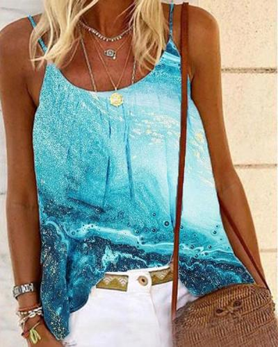 Sexy Blue Sea Print Holiday Camis&Vests