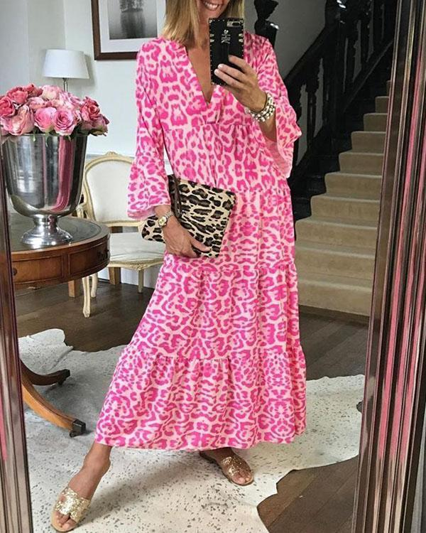 Pink Chic Leopard Print Dress