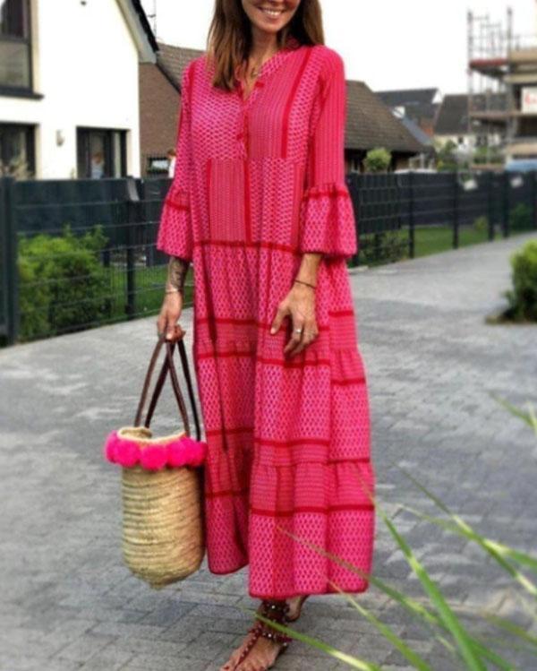 Women Print Vacation Maxi Dress
