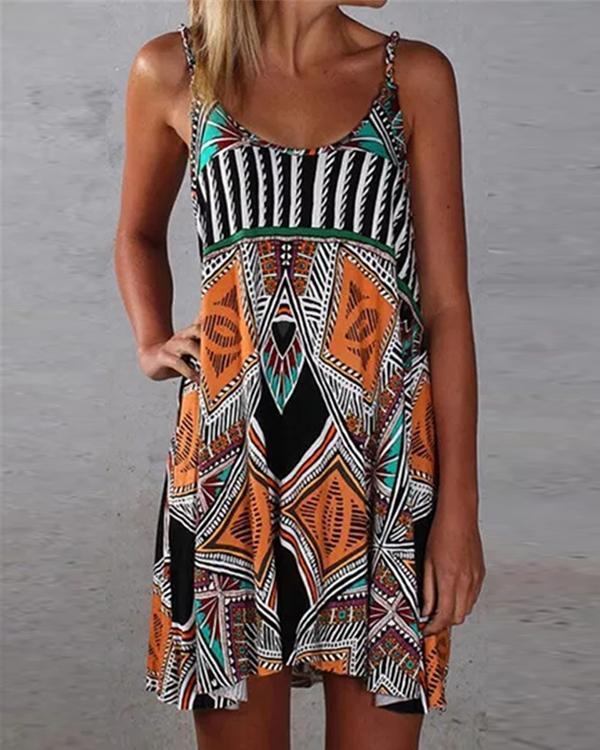 Personalized Sexy Geometric Beach Spaghetti Strap Dress
