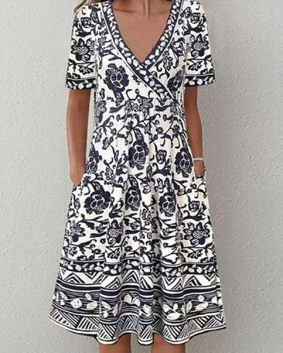 Plus Size Short Sleeve A-line Vintage Multiflora Dresses