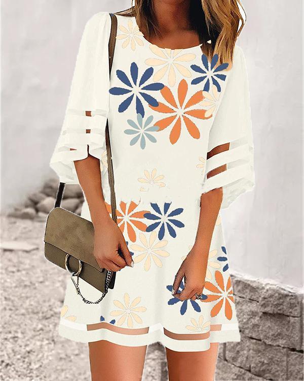 Cute Half Sleeve Flower Print Mini Dresses