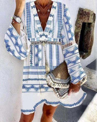 Hollow Patchwork Vacation Boho Style Dresses