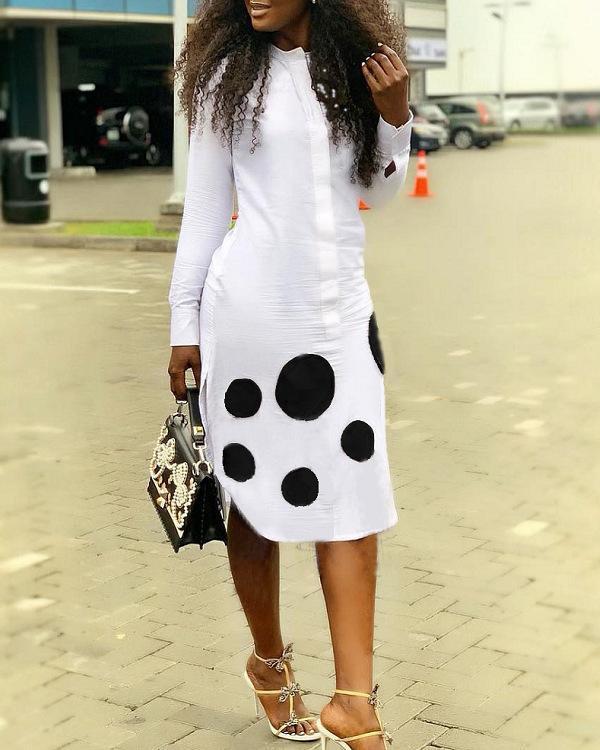 Women Long Sleeve Daily Work Dot Print Shirt Dress