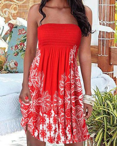 Sexy Bandeau Print Dress Strapless Beach Dress
