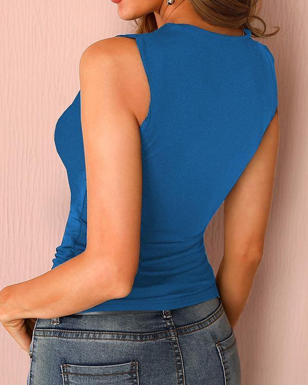 Women's Solid Shoulder Hollow Sexy Vest