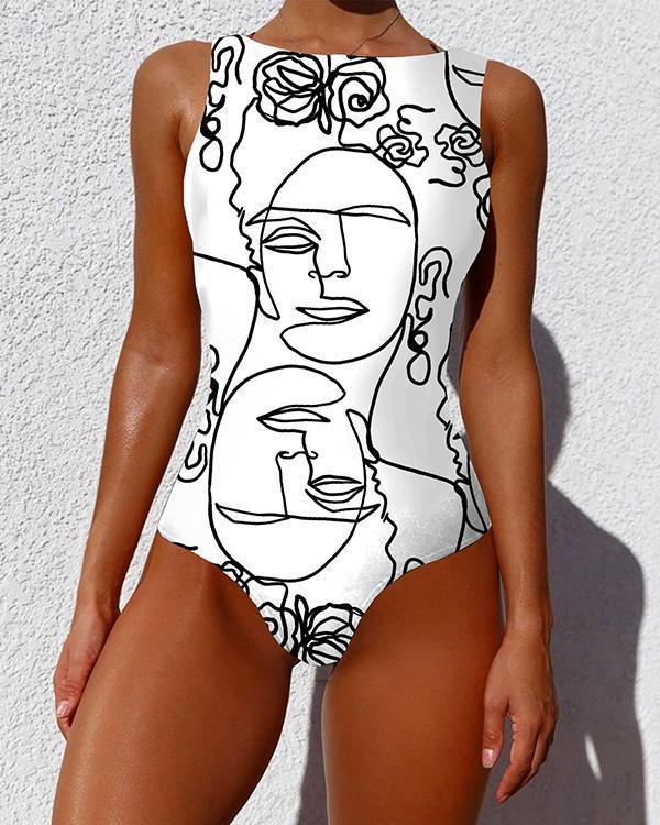 One Piece Swimsuit Women Plus Size Swimwear Print Sexy Backless Swimwear