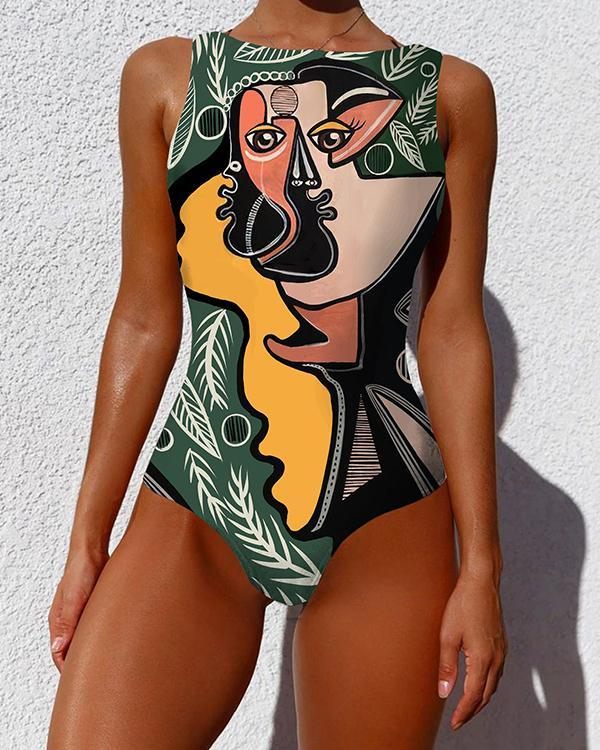 One Piece Swimsuit Women Plus Size Swimwear Print Sexy Backless Swimwear
