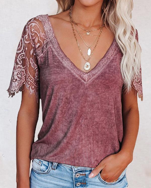 Casual Lace V-neck Summer Blouse