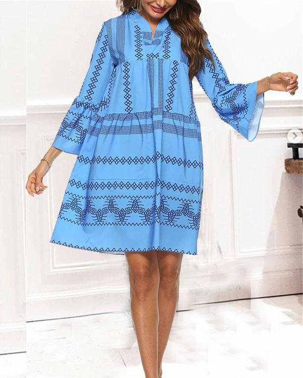 Deep V Neck Vacation Boho Style Dresses