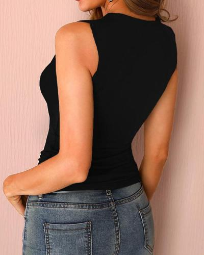 Women's Solid Shoulder Hollow Sexy Vest