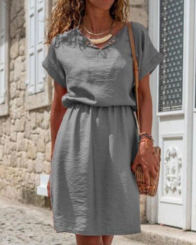 Basic Solid V Neck Linen Cotton A-Line Midi Dress