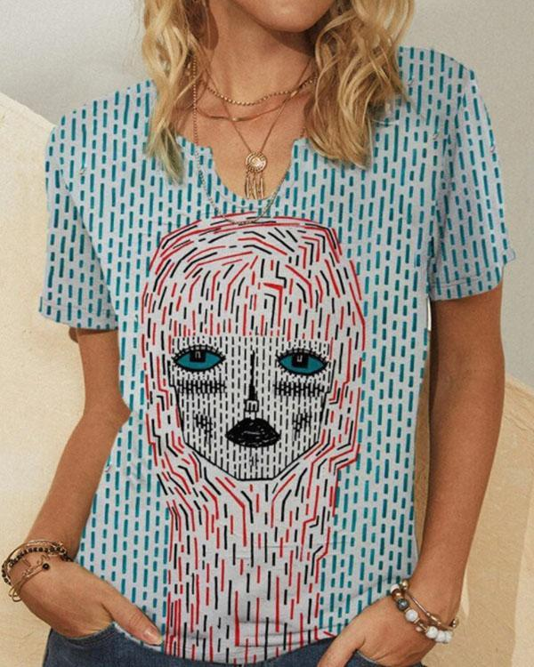 Women's Vintage Printed Summer Plus Size Shirts & Tops