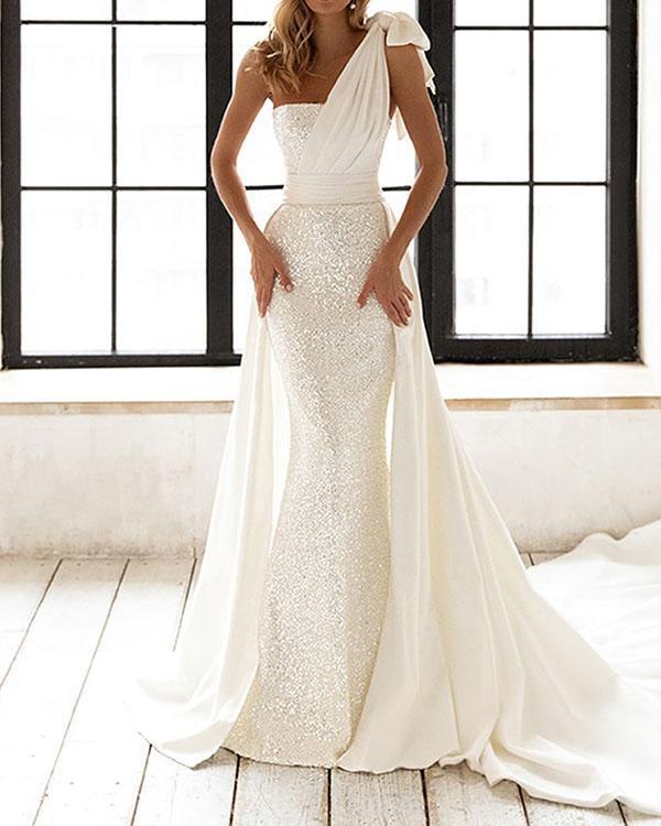 Elegant Wedding Dress Sequin Knotted Bodycon Dress