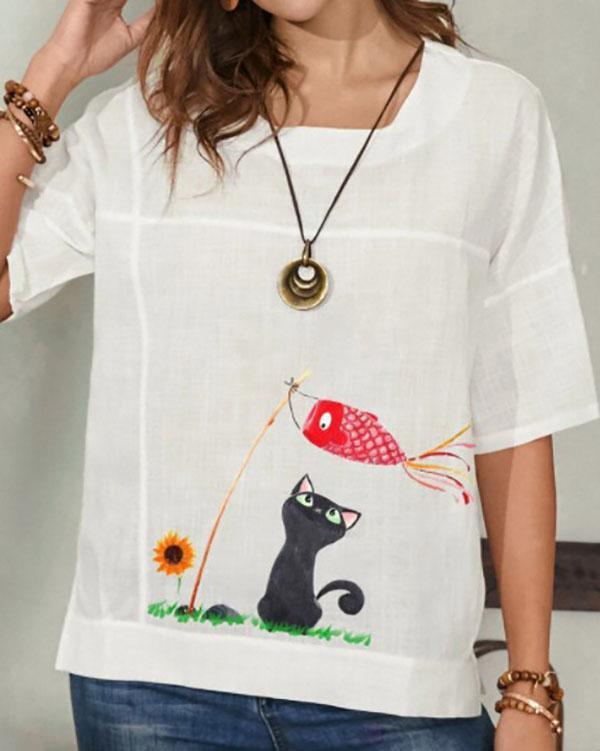 Women's Linen Printed Summer Tops