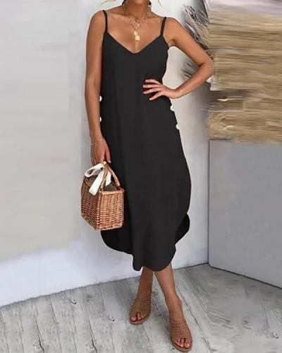 Sleeveless Solid Color Sexy Midi Dress