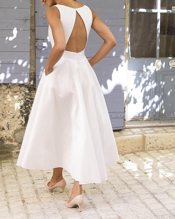 Women Daily Sleeveless Paneled Open Back Prom Dress