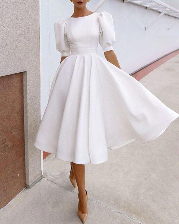 Women Fashion Puff Sleeve Open Back Prom Midi Dress