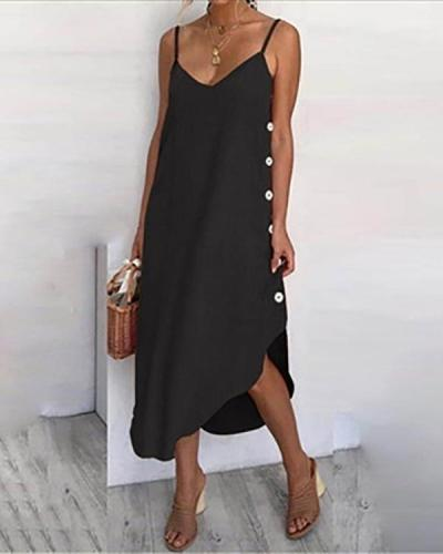 Sleeveless Solid Color Sexy Midi Dress