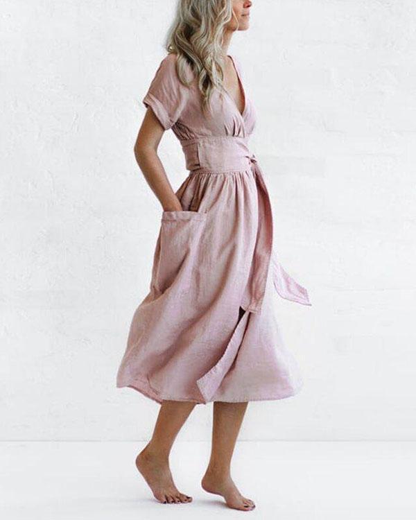 Elegant Solid V Neck Linen Bandage Waist Dresses