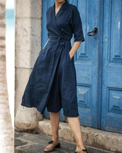 Elegant Solid Turndown Collar Linen Lace up Wrap Dresses