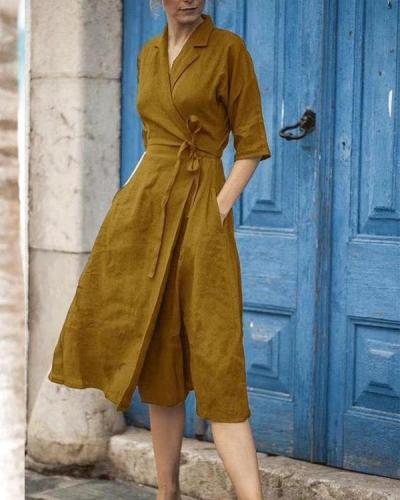 Elegant Solid Turndown Collar Linen Lace up Wrap Dresses