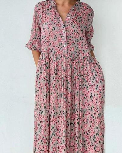 Women's Flare Sleeve Ruffle Hem Floral Midi Dress