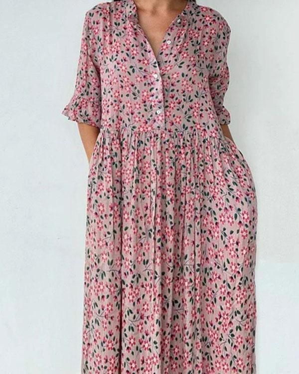 Women's Flare Sleeve Ruffle Hem Floral Midi Dress