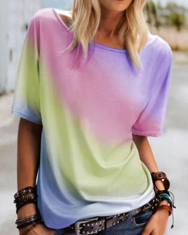 Printed Crew Neck Short Sleeve Loose Shirts