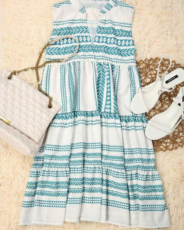 Cute Geometric Sleeveless Print V-Neck Mini Dress